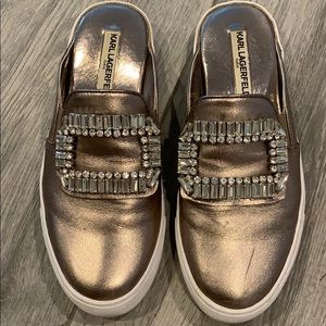 KARL LAGERFELD mules with jeweled buckle
